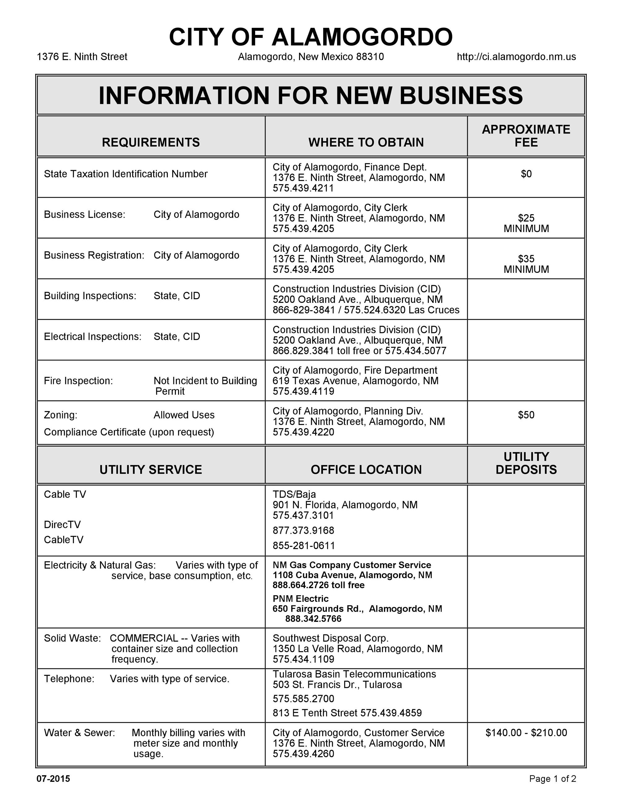 Information for New Business, Requirements, Where to obtain, Fees