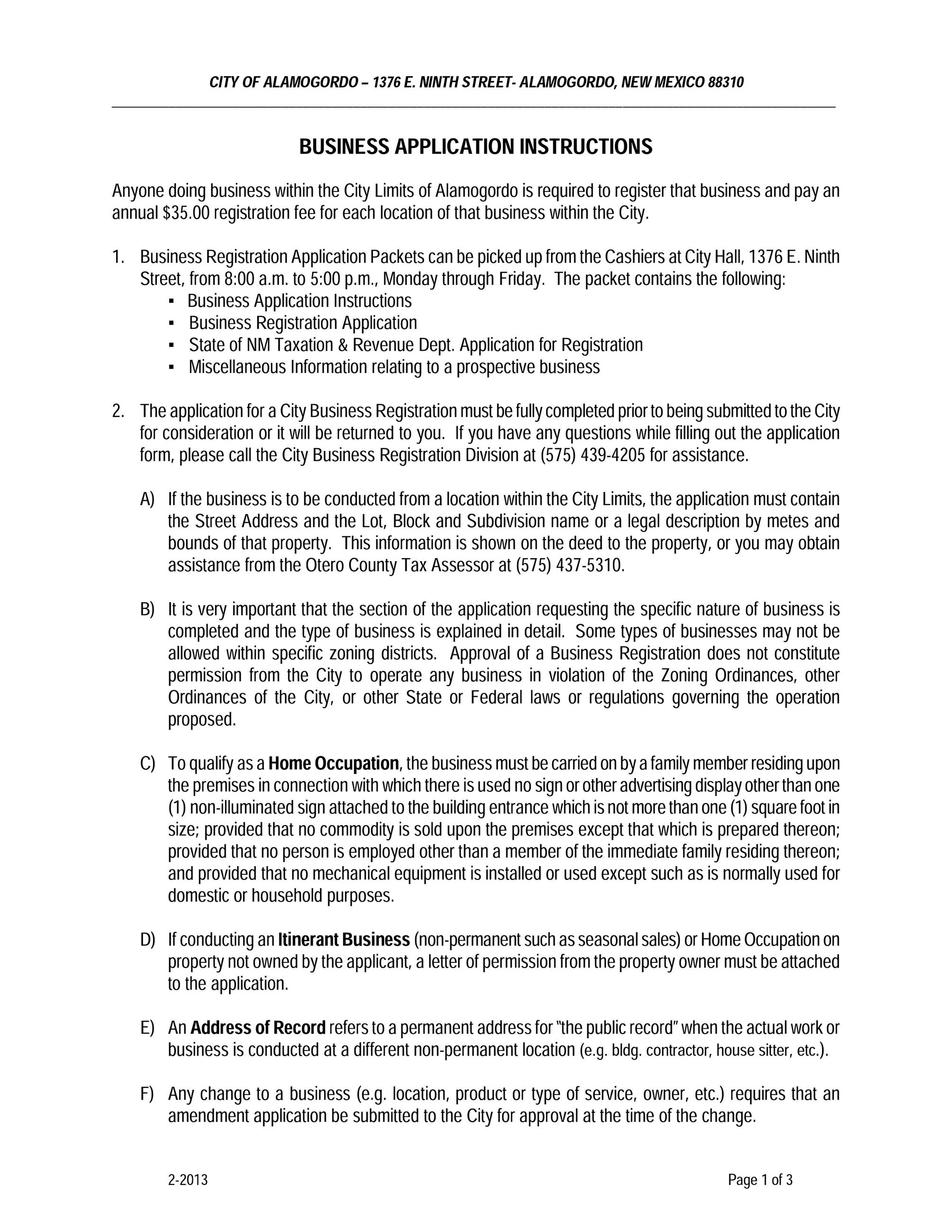 City of Alamogordo Business Application Instructions, Page 1 of 3