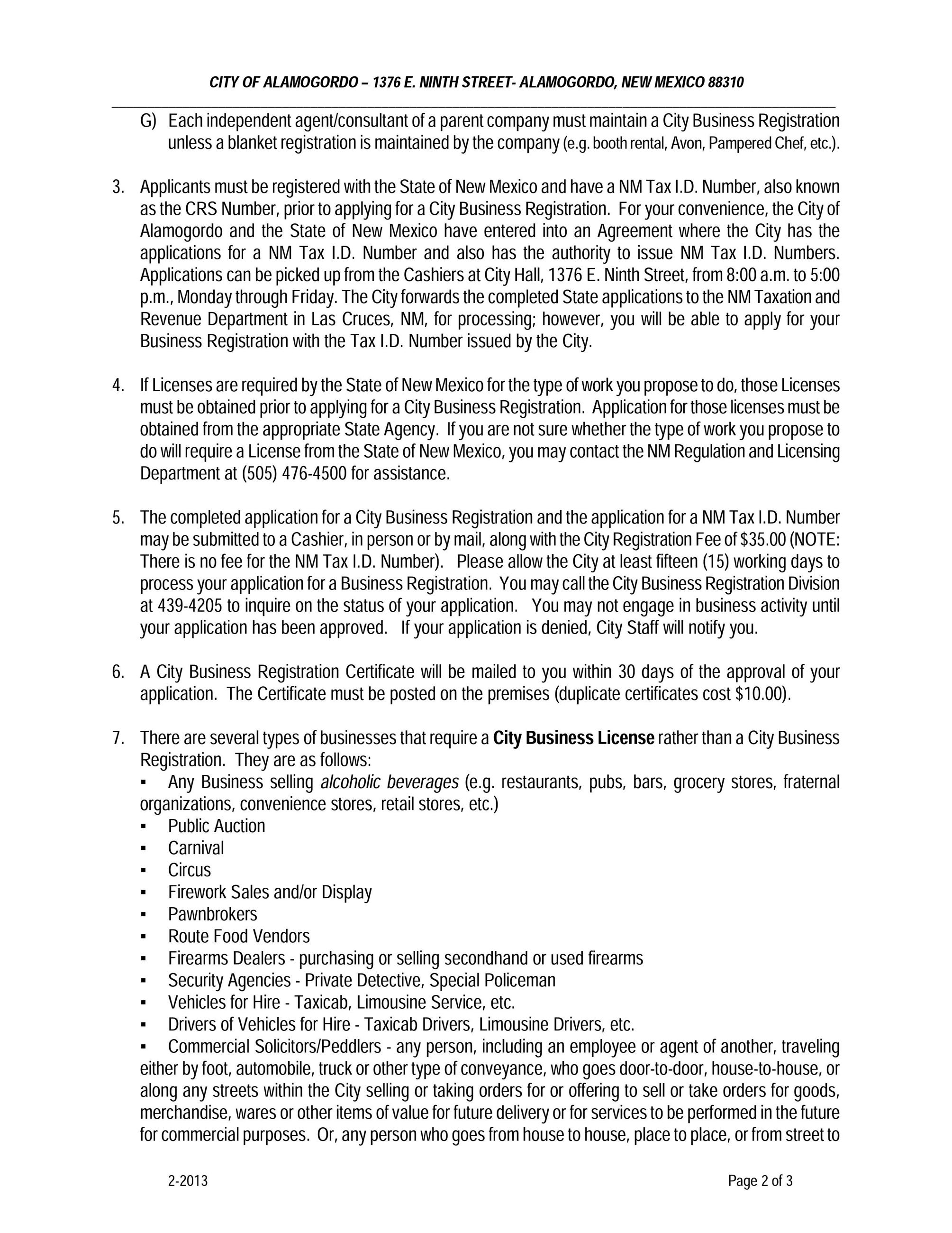 City of Alamogordo Business Application Instructions, Page 2 of 3