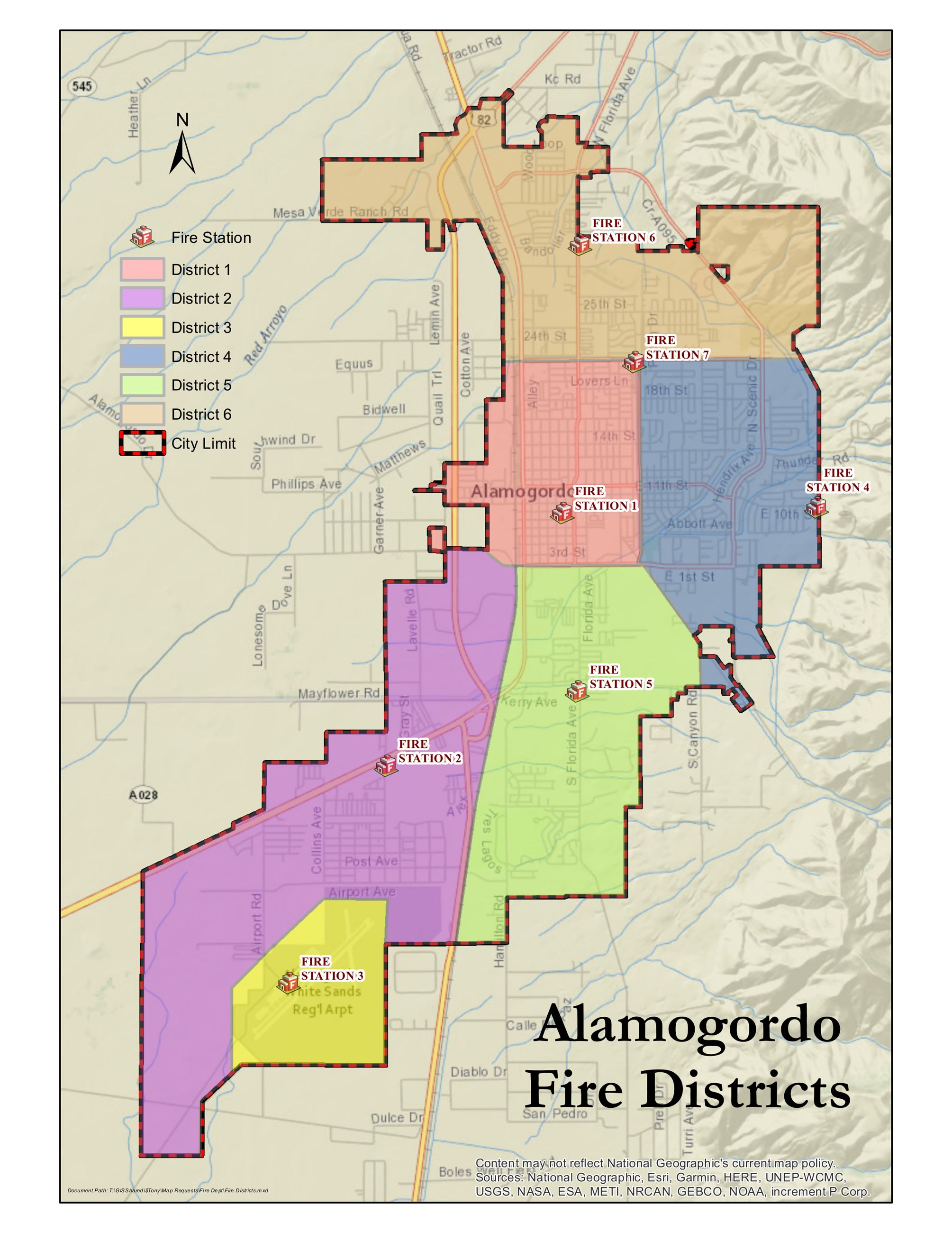 Map of Alamogordo Fire Districts