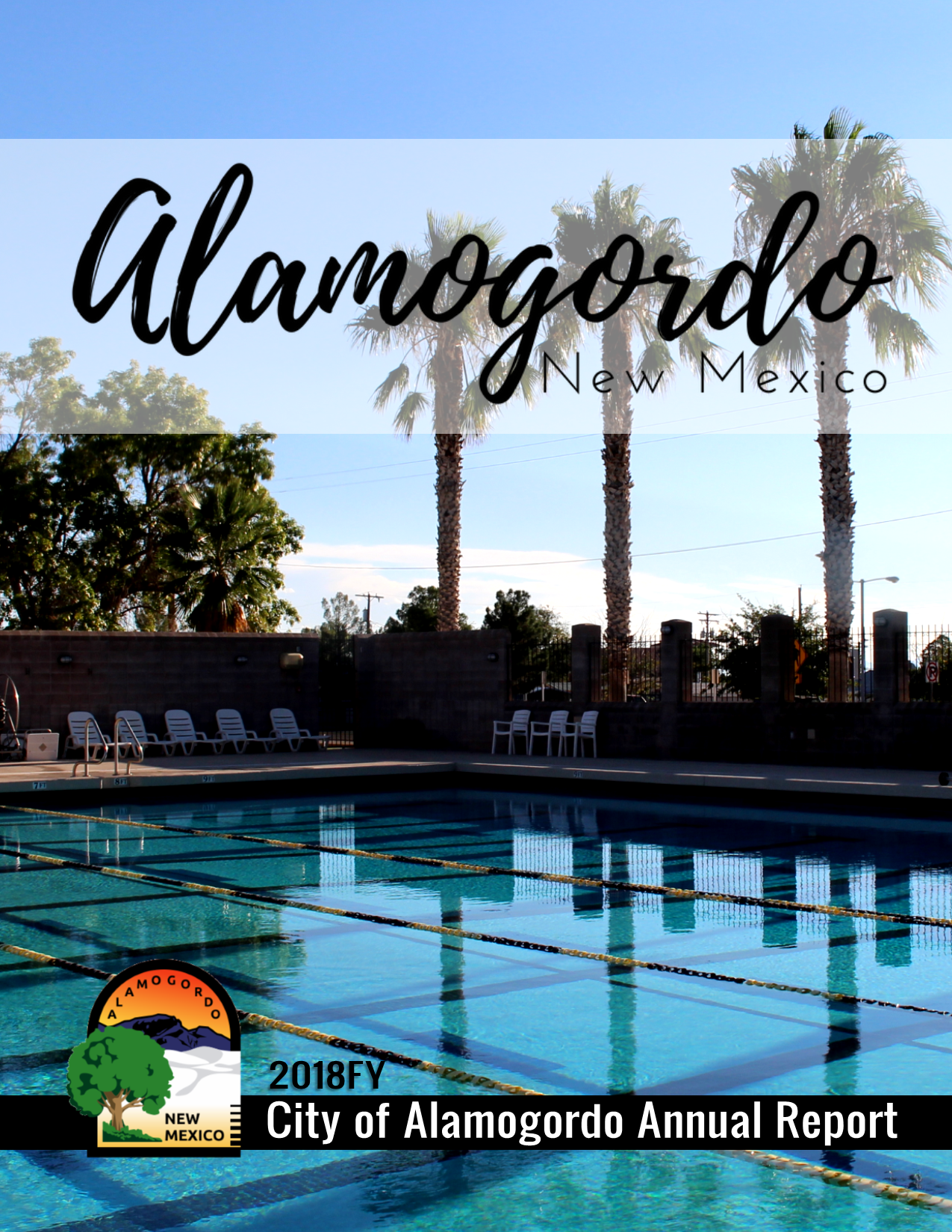 COA Annual Report Cover FY18, Image of the Rec Center swimming pool