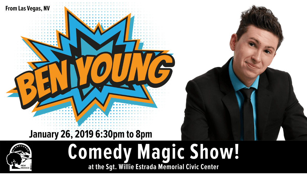 Ben Young Magic Show graphic, with photo of Ben Young and event time and date