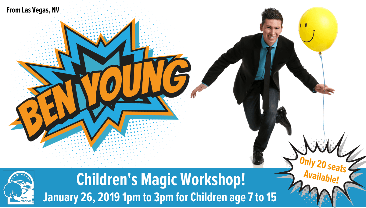 Childrens Magic Workshop graphic, with photo of Ben Young holding a yellow, smiley face balloon