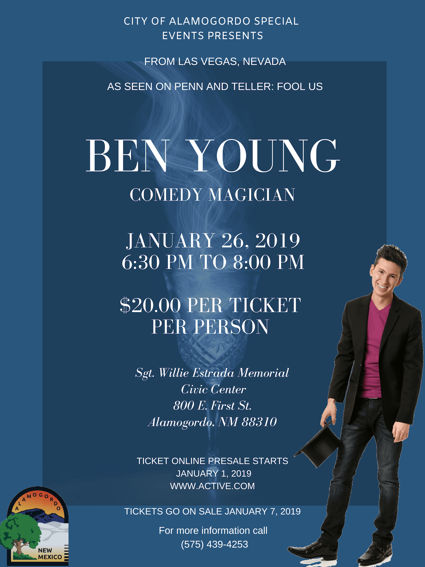 Advertisement for Ben Young, comedy magician show on January 26.