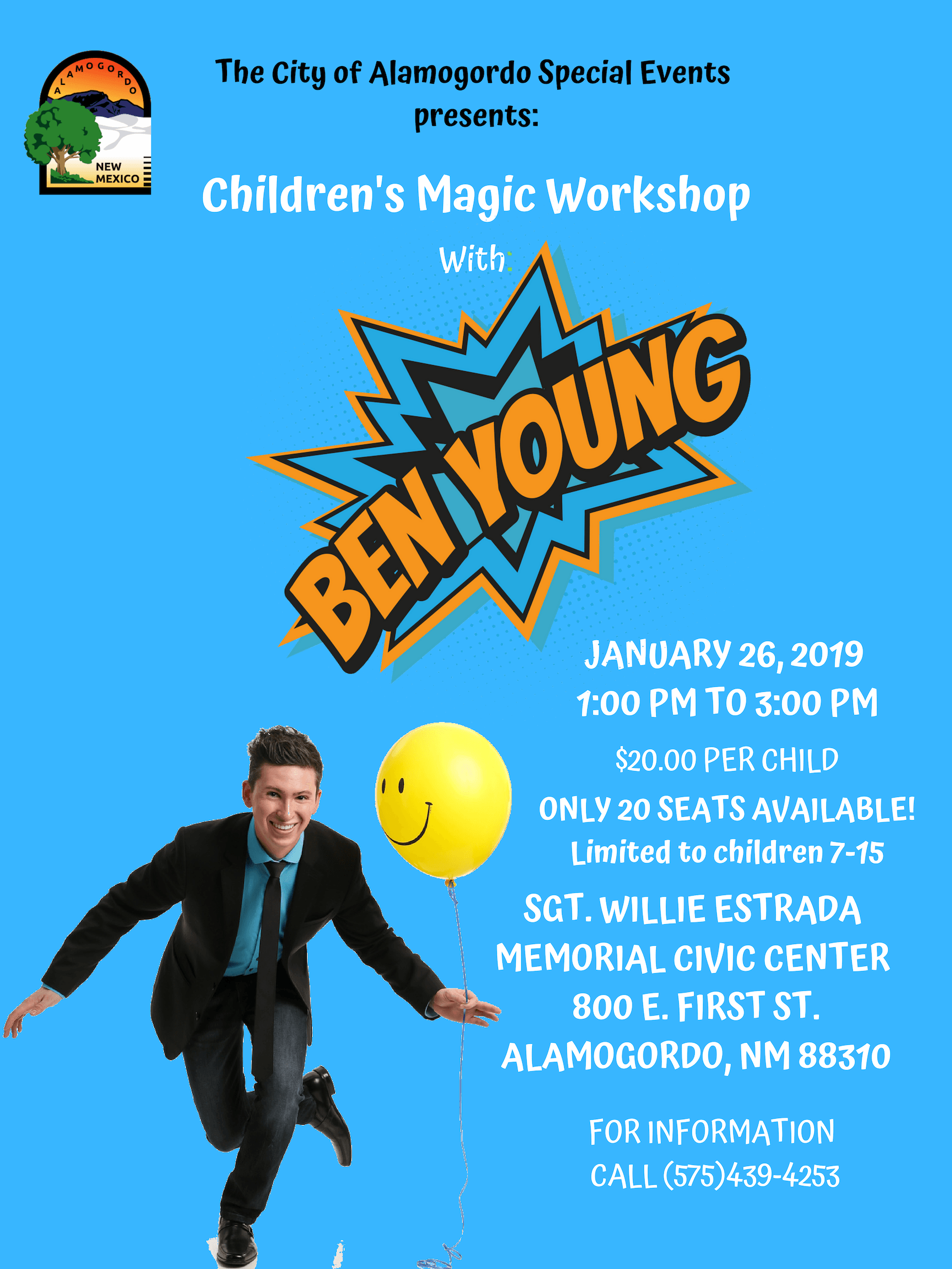 Advertisement for Ben Young, comedy magician workshop for children on January 26.