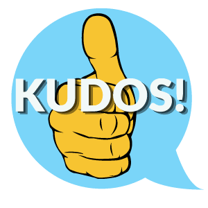 Kudos-button, thumbs up with light blue background comment bubble