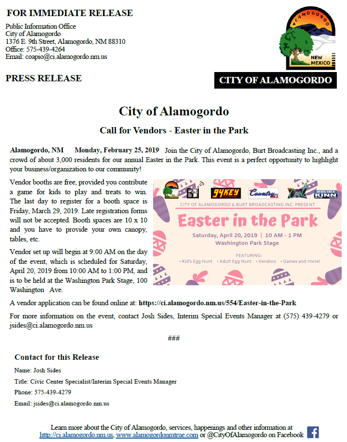 Press Release - Easter in the Park - 022519