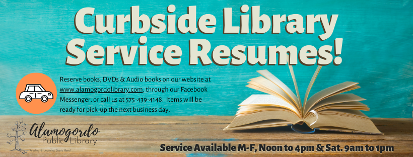 Flyer for curbside pick up service at the library.
