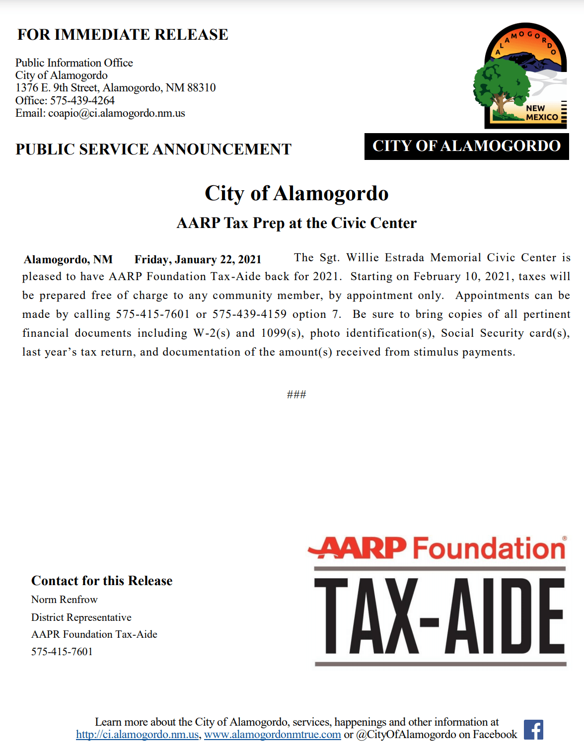 PSA - AARP Tax-Aide Program - Jan 2021