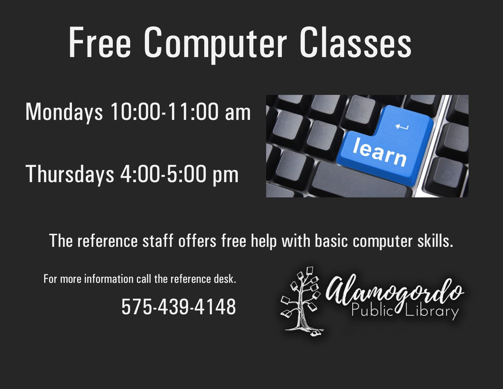 Adult Computer Classes at the library on Mondays and Thursdays