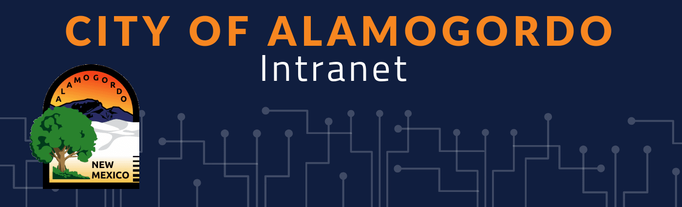 City of Alamogordo Intranet header, City of Alamogordo logo with network background