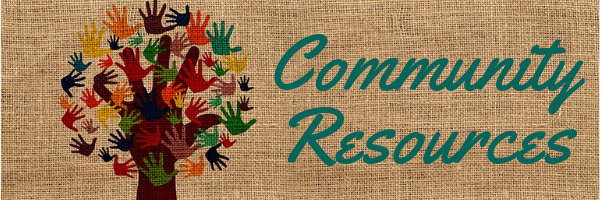 Community Resources header, hand tree with colorful hand prints