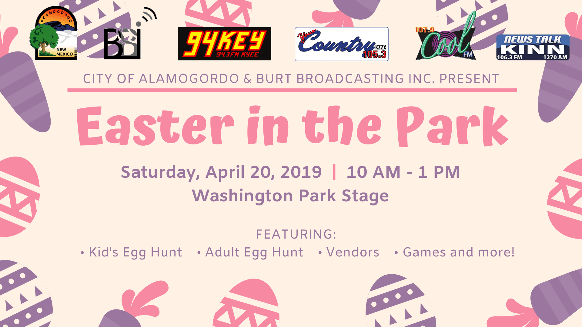 Easter in the Park event flyer, with purple and pink easter eggs, sponsor logos