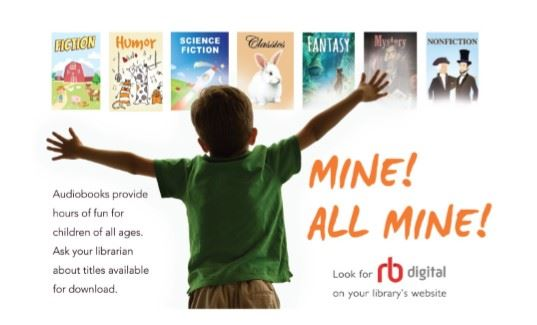 RB Digital flyer featuring a boy with arms outstretched and several book jackets.