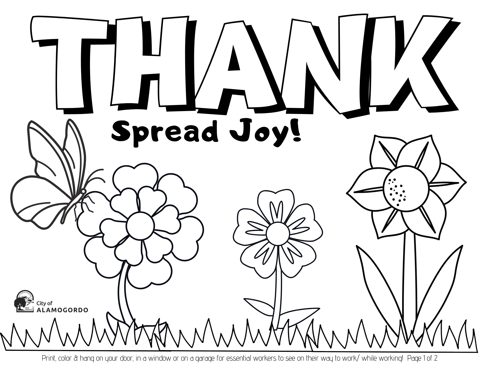 Spring Coloring Page 1 of 2