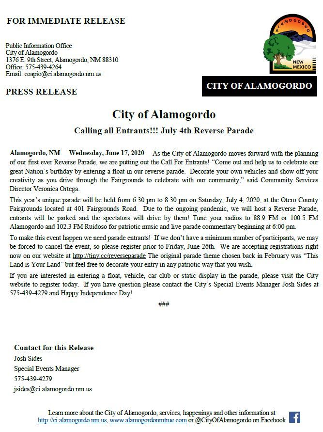 Press Release - July 4th Reverse Parade 061720